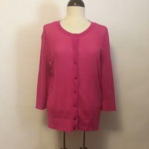 Talbots Dark Pink Mesh Cardigan Sz L